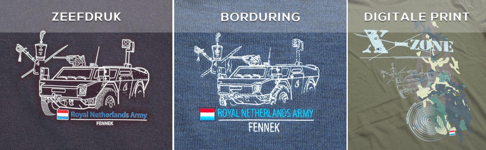 borduring, print en zeefdruk armyprom